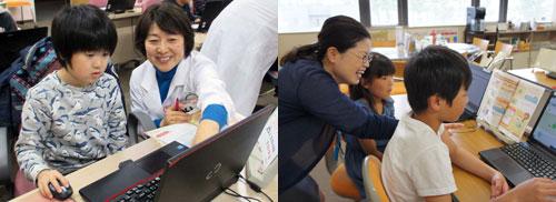 富士通の講師が子どもたちにプログラミングを教えている写真